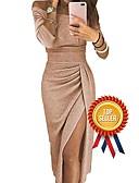 Χαμηλού Κόστους Φορέματα NYE-Γυναικεία Εξόδου Σέξι Εφαρμοστό Θήκη Φόρεμα - Συμπαγές Χρώμα, Πλισέ Patchwork Ασυμμετρικό Ασύμμετρο Ώμοι Έξω