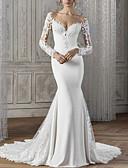 billige Bryllupskjoler-Havfrue V-hals Hoffslep Blonder / Sateng Langermet Made-To-Measure Brudekjoler med Blondeinnlegg 2020