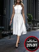 baratos Vestidos de Mulher-Mulheres Elegante Evasê Vestido Listrado Médio