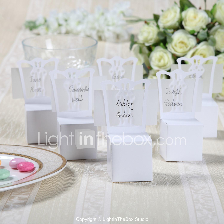 Segnaposto Matrimonio Lightinthebox.Bianco Favore Box Sedia Con Segnaposto Carta Set Di 12 Del