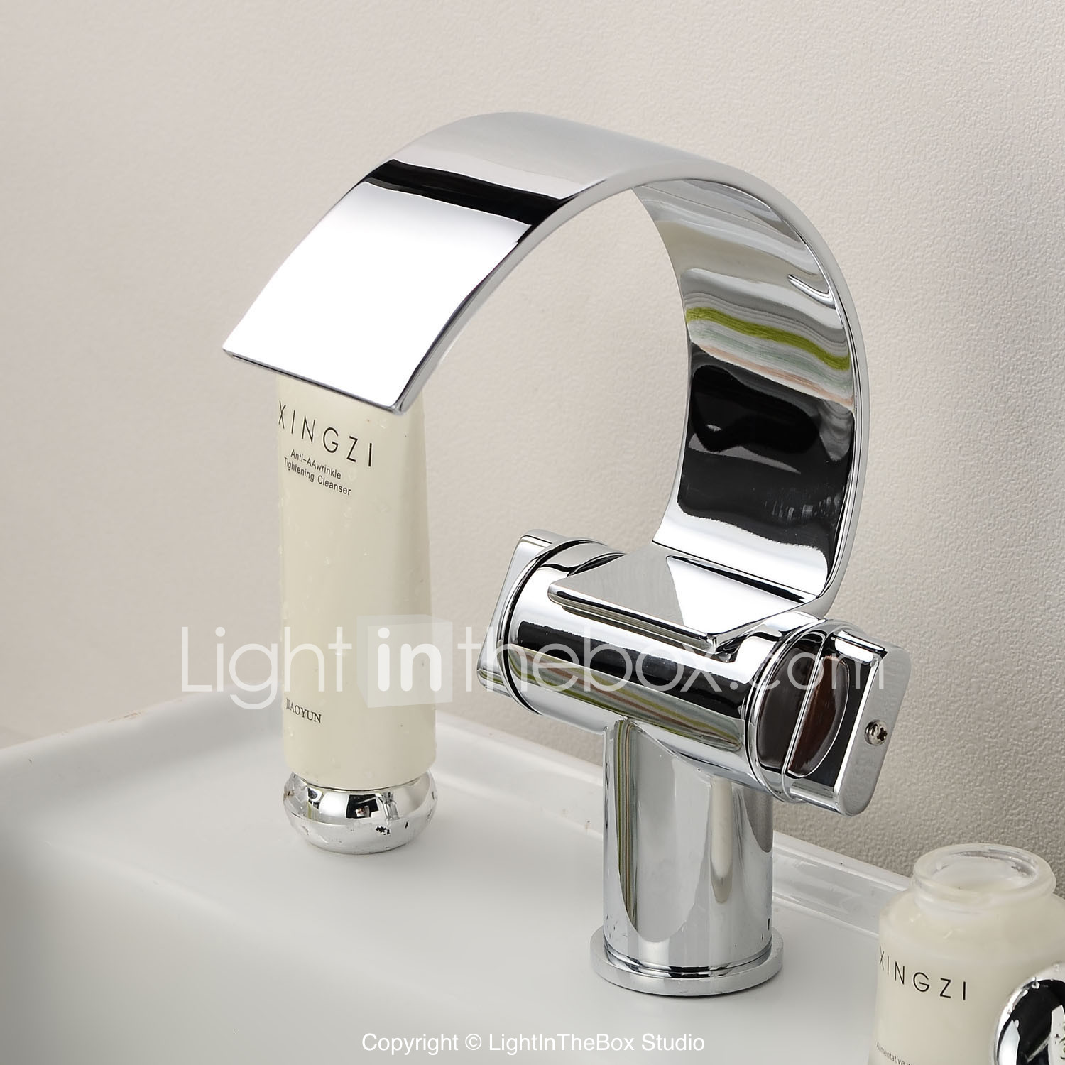 """11/"""" LED Bathroom Faucet Waterfall Water Flow Vessel Chrome One Hole//Handle Taps"""