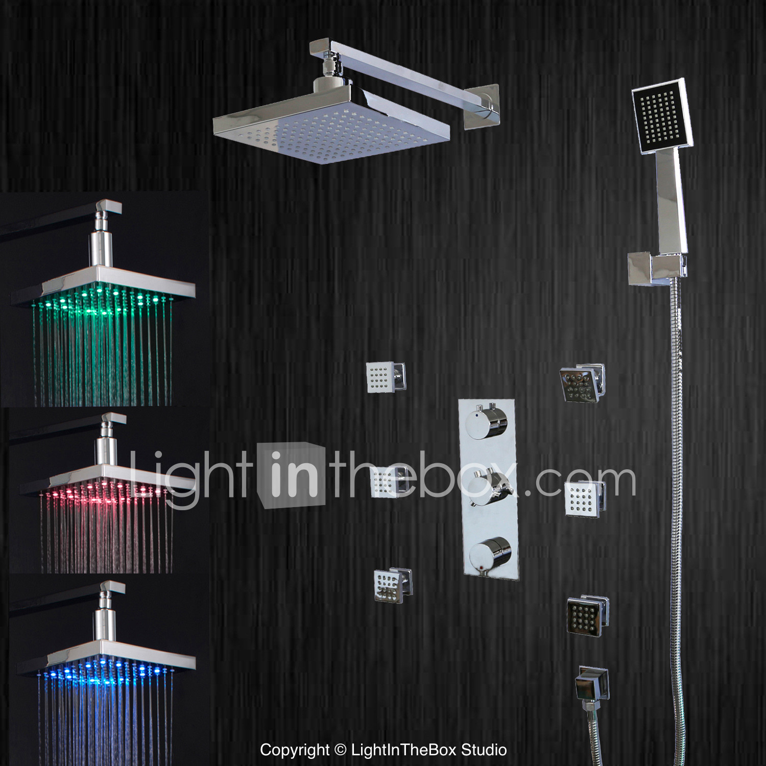 LED Waterfall Rain Shower Head Valve Mixer Tap Faucet Hand Shower Sprayer Chrome