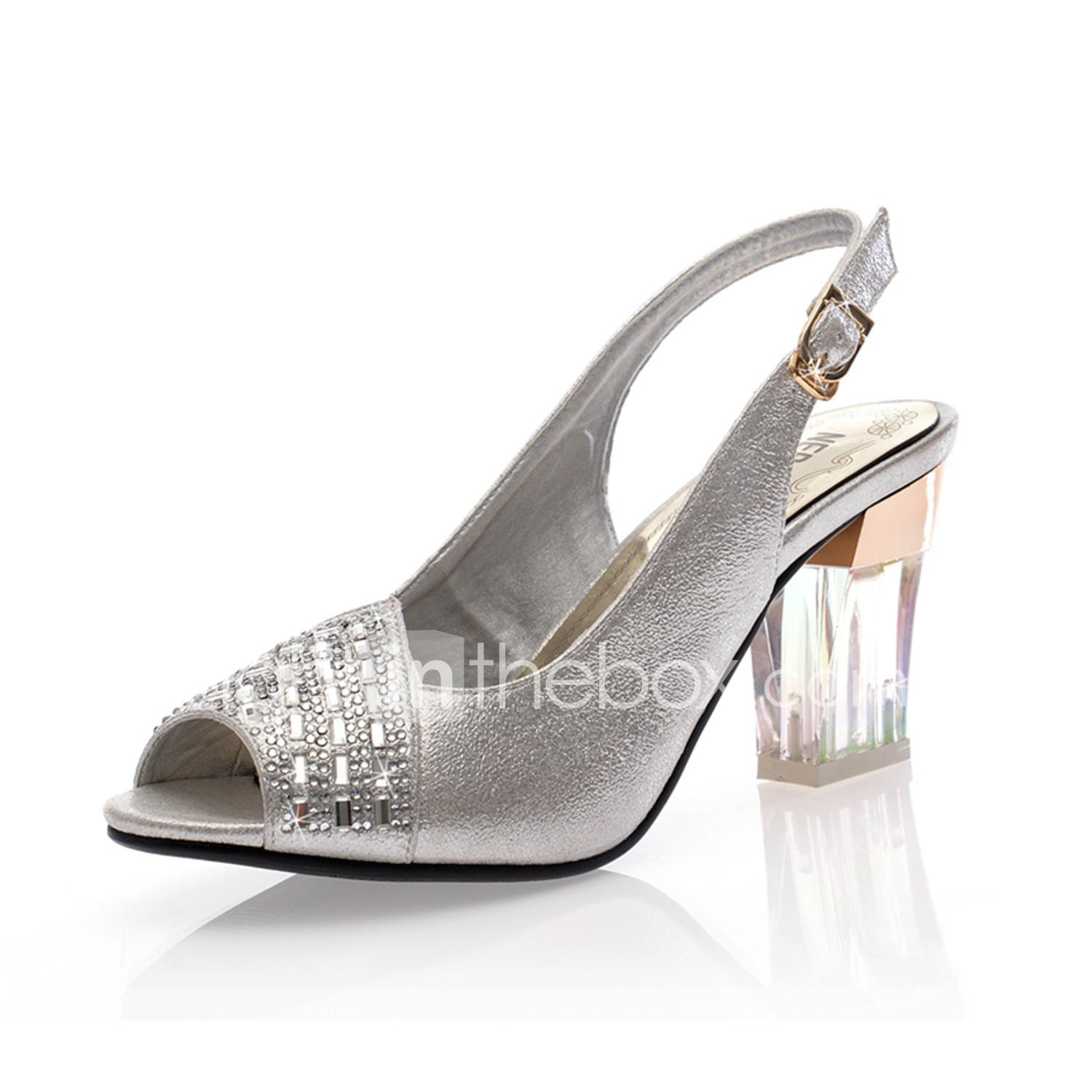 Women S Shoes Open Toe Chunky Heel Leather Sandals Wedding Shoes