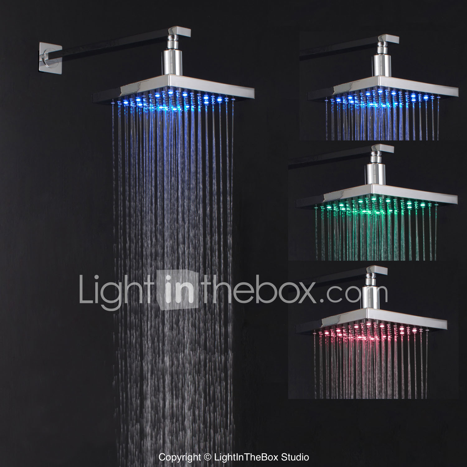 Contemporary Rain Shower Chrome Feature Rainfall Led