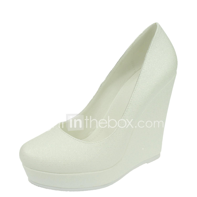 Women S Wedding Shoes Round Toe Wedges Heel Wedding Dress White