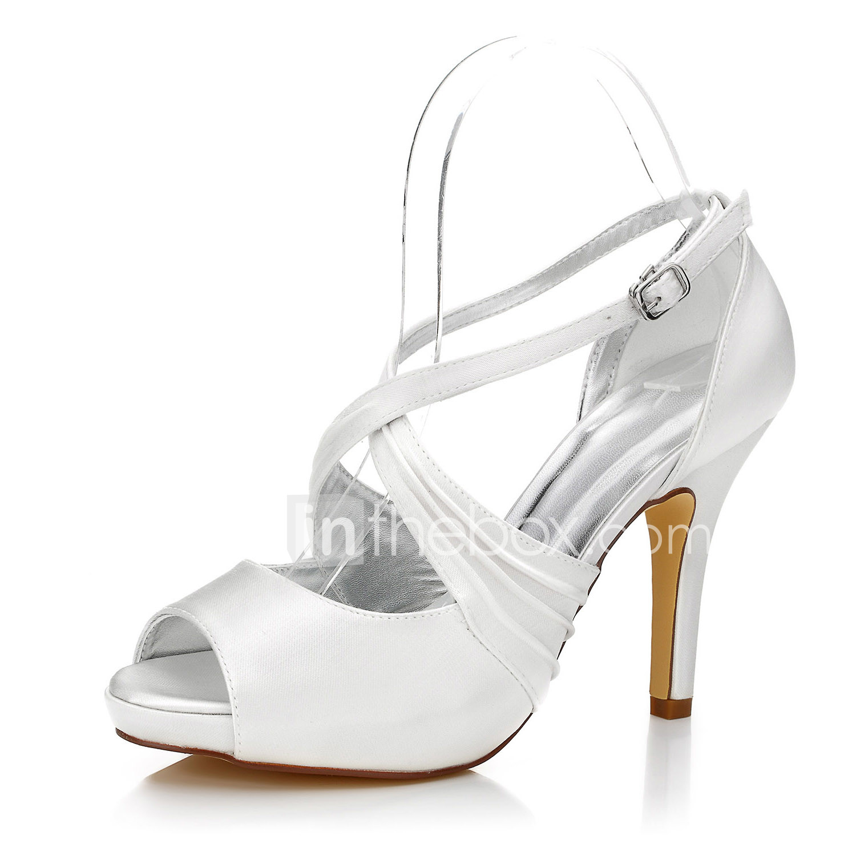Women S Heels Dyeable Wedding Shoes Stiletto Heel Round Toe Peep