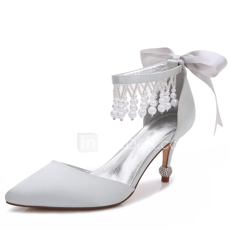 Women S Wedding Shoes Kitten Heel Cone Heel Low Heel Pointed