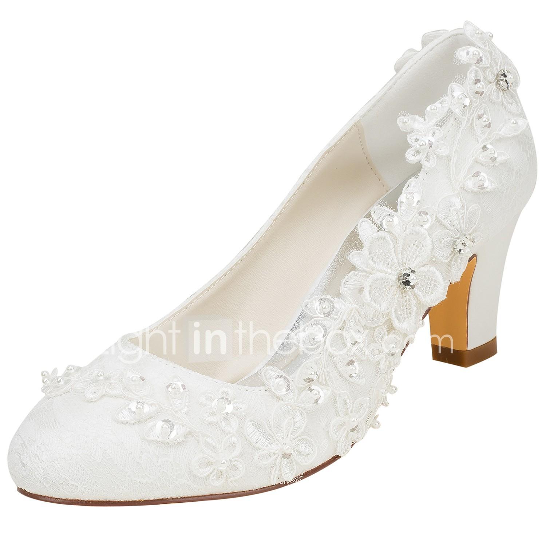 Damen Hochzeit Schuhe Blockabsatz Runde Zehe Kristall