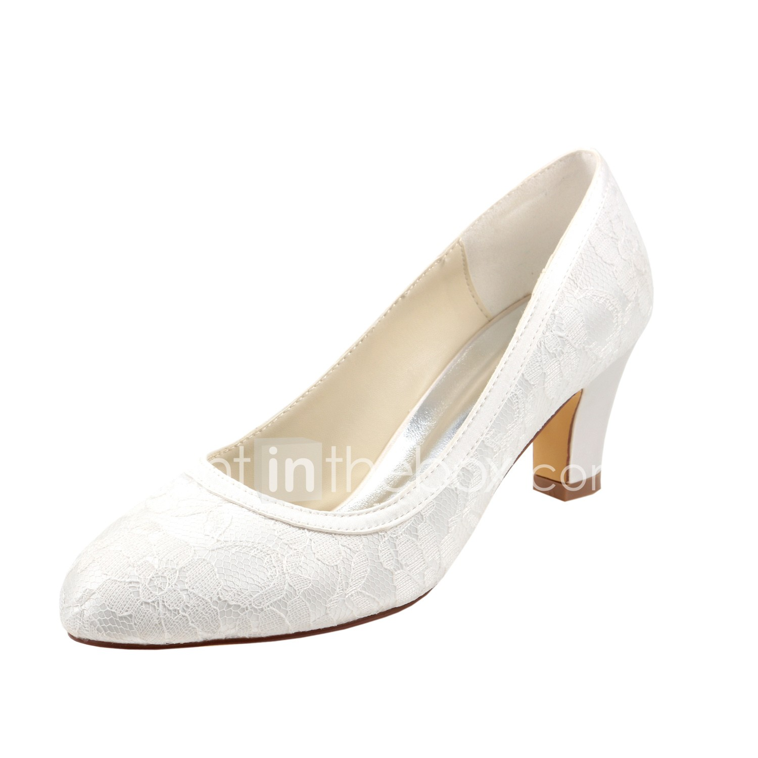 Women's Wedding Shoes Chunky Heel Round Toe Stretch Satin