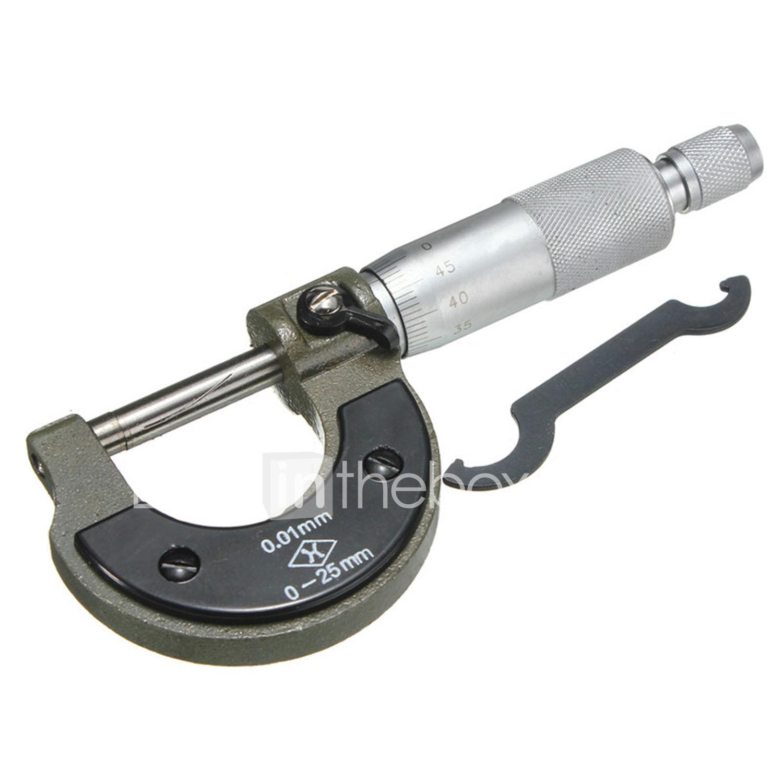 0-25mm 0.01mm Gauge Outside Metric Micrometer Tool With Metal Caliper Tool Box
