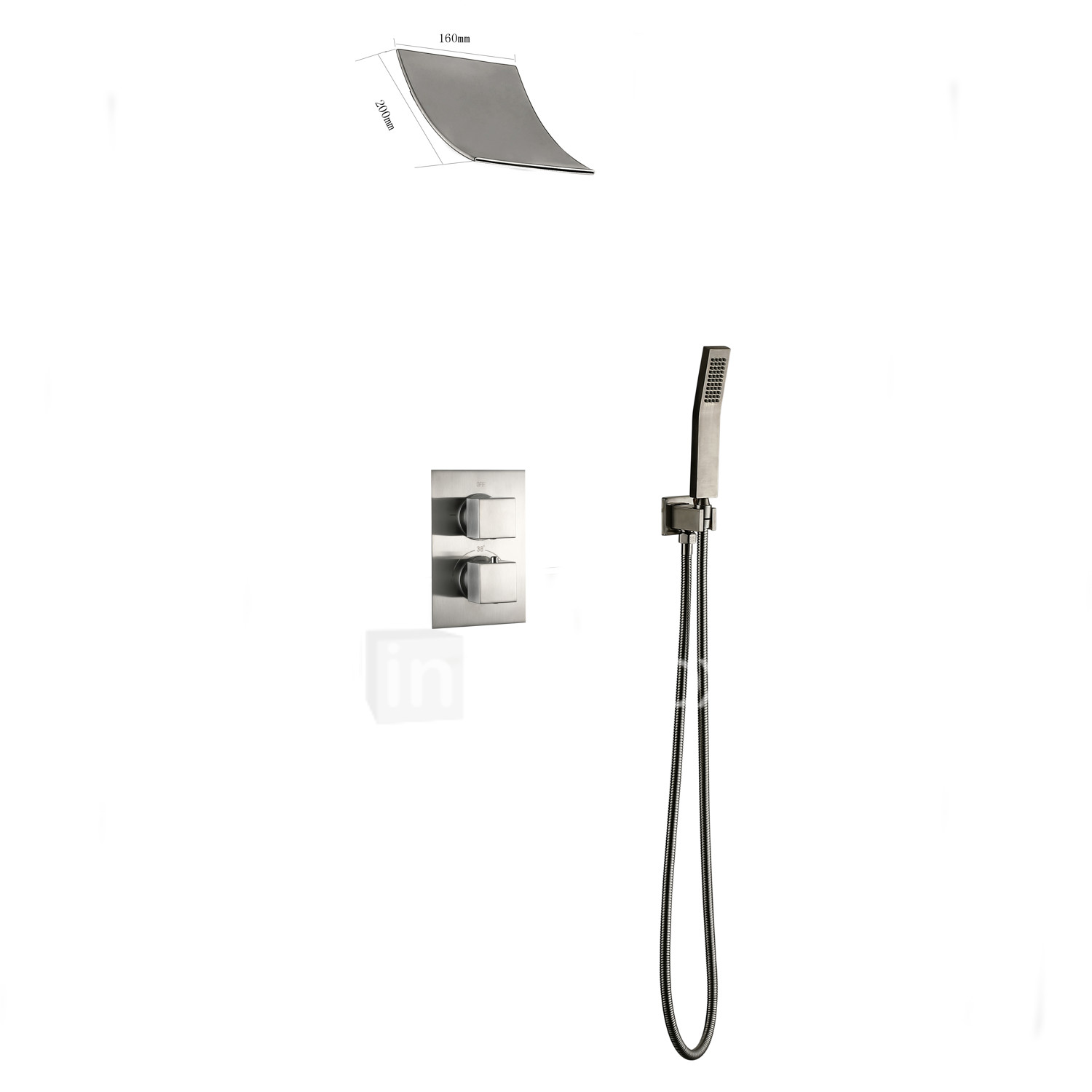 Shower Faucet Contemporary Nickel Brushed Wall