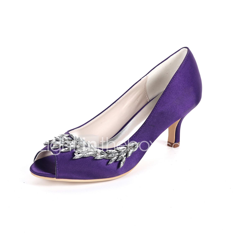 Women S Wedding Shoes Stiletto Heel Peep Toe Rhinestone Satin