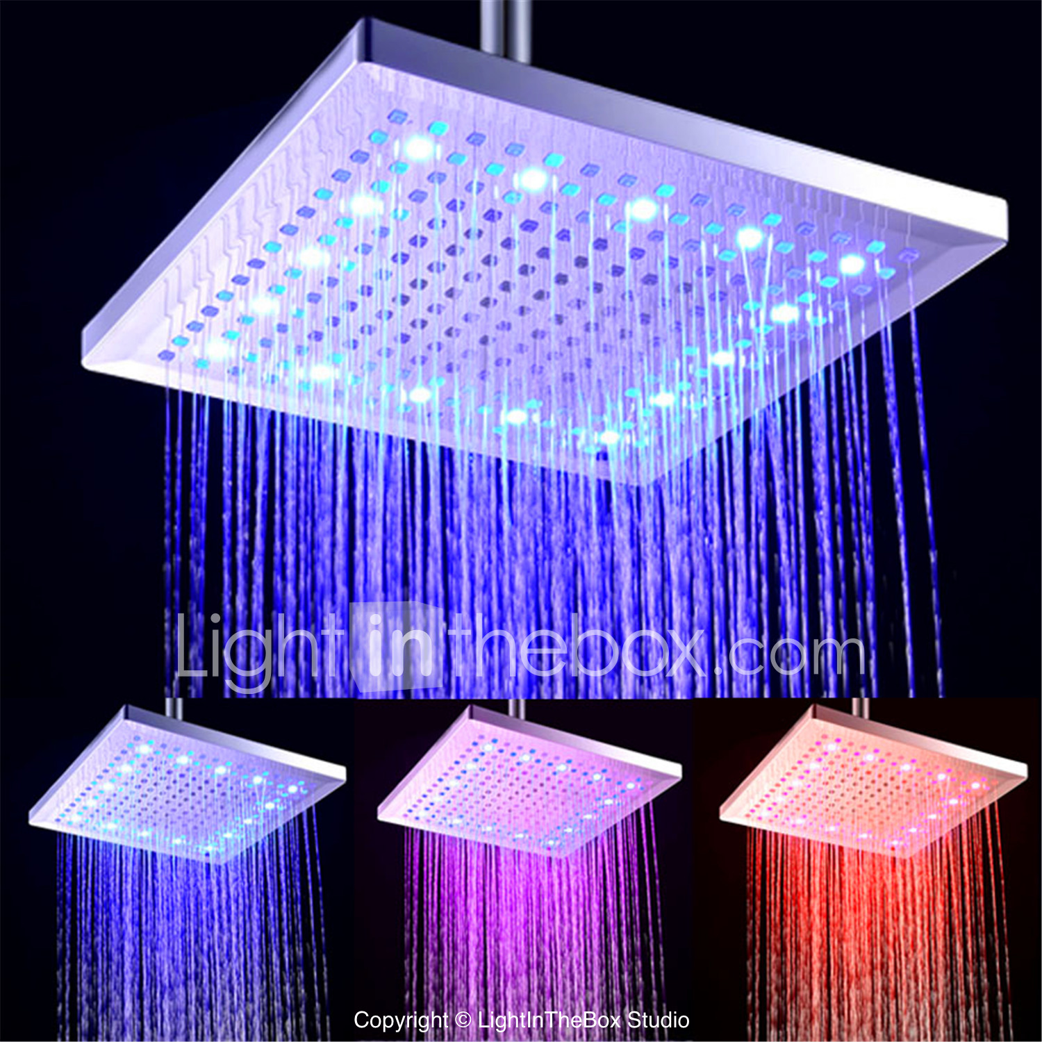 Contemporary Rain Shower Electroplated Feature Led New