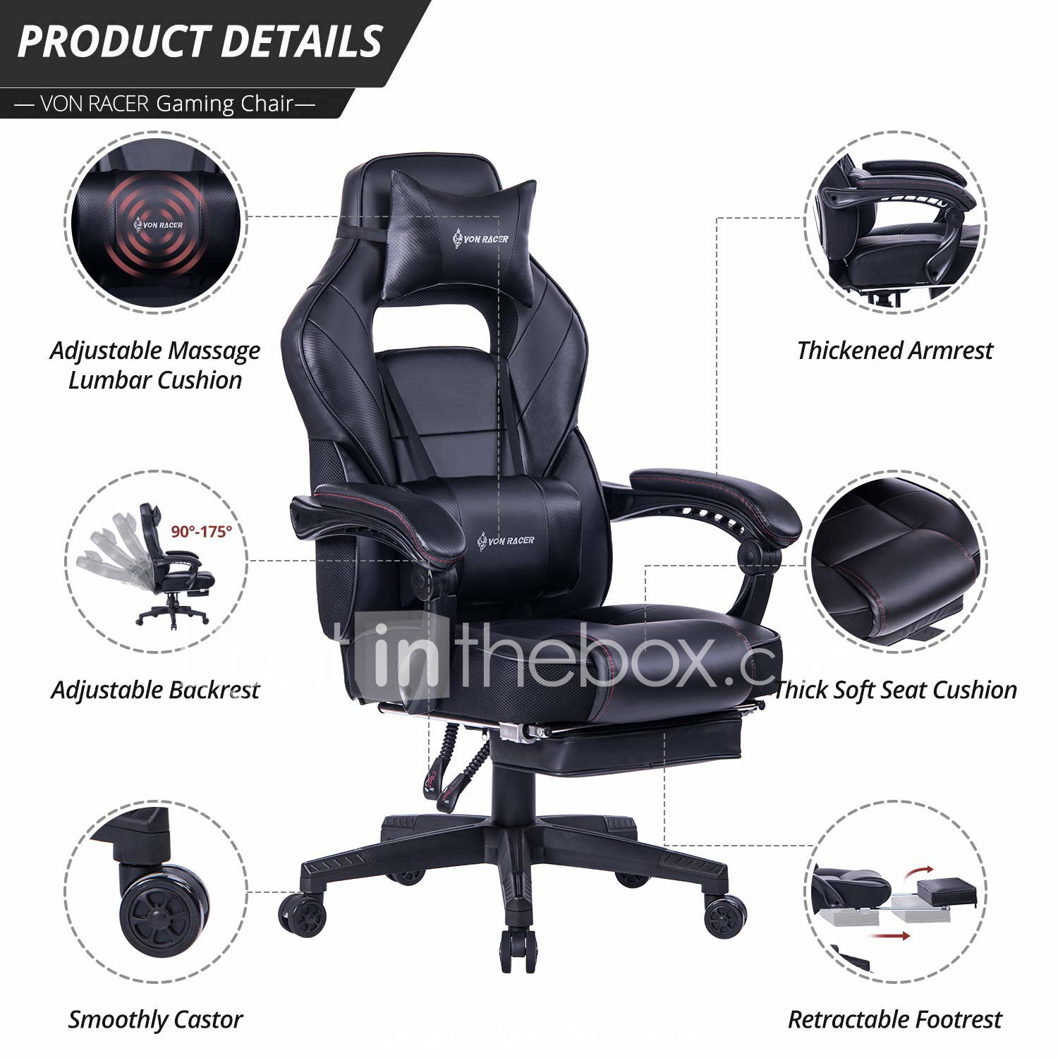 Awesome Von Racer Massage Reclining Gaming Chair Ergonomic High Caraccident5 Cool Chair Designs And Ideas Caraccident5Info