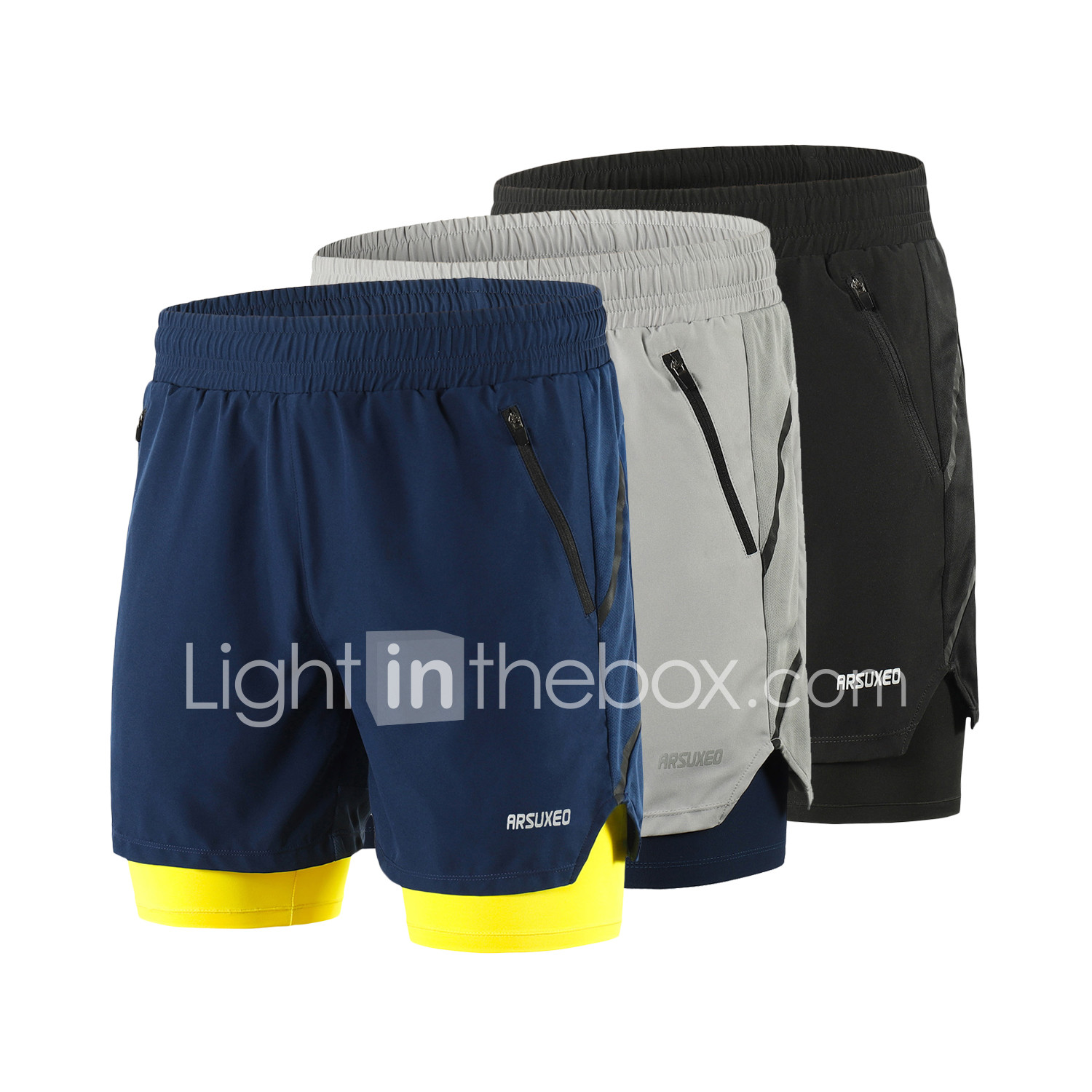 Men/'s 2 in 1 Running Shorts Quick Drying Sports Legging  Pants With Pockets 520