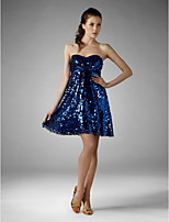 cheap -Ball Gown Sparkle & Shine Holiday Homecoming Cocktail Party Dress Strapless Sweetheart Neckline Sleeveless Short / Mini Sequined with Bow(s) Sequin 2020