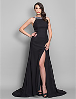cheap -A-Line / Princess Scoop Neck Sweep / Brush Train Chiffon Open Back Formal Evening Dress with Split Front / Pleats by TS Couture®