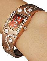 Недорогие -Diamante Женские площади набора Браун сплава группы кварцевые аналоговые часы браслет