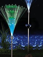 confezione da 2 fibra ottica solare giardino di colore cangiante luce palo