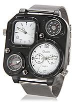 baratos -Homens Relógio Militar Quartzo Prata Termómetro Bússula Dois Fusos Horários Analógico Branco Preto / Aço Inoxidável