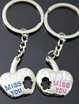 cheap -(2 PC) Beautiful Apple Shape Creative Fashion Lovers High-Grade Stainless Steel Keychain