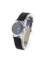 Недорогие -Coway Красивая Дамская Круглый циферблат черный кожаный ремешок Кварцевые аналоговые наручные часы