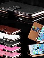 Недорогие -Кейс для Назначение Apple iPhone 6 Plus / iPhone 6 Бумажник для карт / со стендом Чехол Однотонный Твердый Кожа PU для