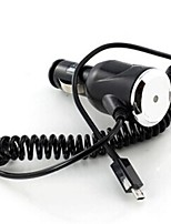 Spiral Cable Micro USB Car Power Charger for Samsung Galaxy and Other Cellphones (Black)