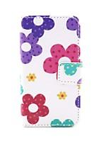 abordables -motif de tournesol pu couverture en cuir avec fente pour carte avec un stylo tactile et film protecteur 2 pcs et casque pour iPhone 4 / 4S