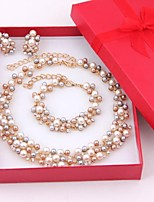 cheap -Women's Multicolor Pearl Jewelry Set Drop Earrings Bead Bracelet Ladies Elegant Bridal Pearl Rhinestone Gold Plated Earrings Jewelry Golden / White For Wedding Party Special Occasion Anniversary