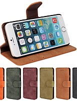 cheap -Case For Apple iPhone 6 iPhone 6 Plus Card Holder Wallet with Stand Flip Frosted Full Body Cases Solid Color Hard PU Leather for iPhone