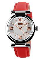 abordables -SKMEI Mujer Reloj de Moda Reloj Casual Cuarzo Cuarzo Japonés Reloj Casual Piel Banda Negro Blanco Azul Rojo Rosa