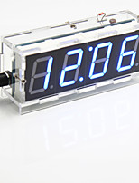 DIY 4-digit Seven-segment Display Digital Light Control Desk Clock Kit (Blue Light)