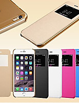 abordables -Para Funda iPhone 6 / Funda iPhone 6 Plus con Ventana / Flip Funda Cuerpo Entero Funda Un Color Dura Cuero SintéticoiPhone 6s Plus/6 Plus