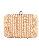 Women Bags All Seasons Polyester Evening Bag Pearl Detailing for Wedding Event/Party Formal Champagne White