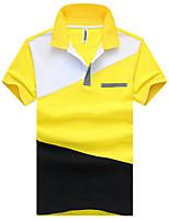 cheap -Men's Cotton Slim Polo - Solid Colored Block Shirt Collar