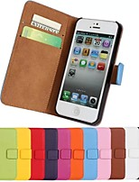 abordables -Funda Para iPhone 5 Apple Funda iPhone 5 Soporte de Coche Cartera con Soporte Flip Funda de Cuerpo Entero Color sólido Dura Cuero de PU