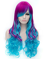 cheap -European and American Fashion Wig Purple Gradient Mixed Color Long Curly Wig