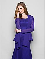 cheap -Long Sleeve Coats / Jackets Chiffon Wedding / Party Evening Women's Wrap With Ruffles