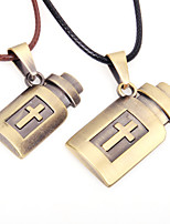cheap -Couple's Cross Vintage Hiphop Pendant Necklace , Leather Alloy Pendant Necklace , Daily Going out