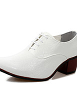 Men's Shoes Leather Fall Winter Formal Shoes Comfort Oxfords For Casual Party & Evening Burgundy Dark Blue Black White