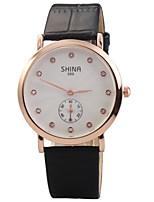 Недорогие -Жен. Модные часы Кварцевый Стеганная ПУ кожа Черный / Белый Аналоговый Белый Черный / Нержавеющая сталь