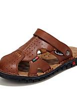 Для мужчин обувь Натуральная кожа Дерматин Весна Лето Удобная обувь Сандалии Ноль Ноль / Назначение Повседневные Черный Коричневый Хаки