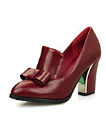 Women's Shoes PU Spring Fall Comfort Heels Chunky Heel Pointed Toe Bowknot For Outdoor Office & Career Red Black White