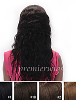 cheap -Human Hair Lace Wig Loose Wave Lace Front 100% Hand Tied African American Wig Natural Hairline 130% Density Dark Black Black Dark Brown