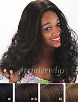 Недорогие -Натуральные волосы Лента спереди Парик Кудрявый 100% ручная работа Парик в афро-американском стиле Природные волосы Короткие Средние