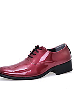 Men's Shoes PVC Leather Fall Winter Comfort Oxfords Lace-up For Wedding Office & Career Wine Blue Red Orange