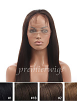 cheap -Human Hair Lace Wig Straight Full Lace 100% Hand Tied African American Wig Natural Hairline 130% Density Dark Black Black Dark Brown