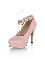 Women's Shoes PU Spring Fall Comfort Heels Stiletto Heel Round Toe Tassel(s) For Outdoor Office & Career Blushing Pink Beige Black