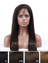 cheap -Human Hair Lace Wig Straight Full Lace Lace Front 100% Hand Tied African American Wig Natural Hairline 130% Density Dark Black Black Dark